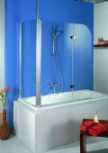 HSK - Sidewall to Bath screen, 41 chrome-look 750 x 1400 mm, 50 ESG clear bright