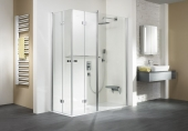 HSK - Corner entry with folding hinged door and fixed element 41 chrome look 1400/900 x 1850 mm, 54 Chinchilla