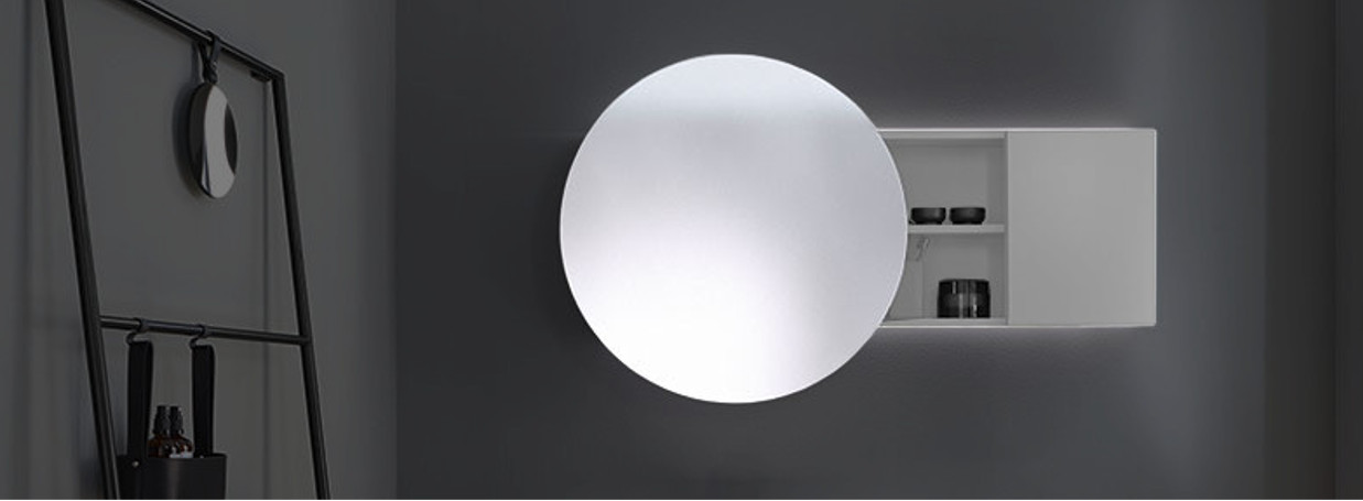 Round mirror cabinet by burgbad Coco at xTWOStore